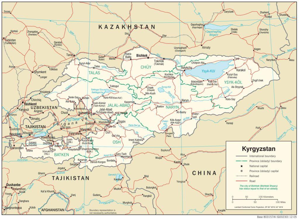 Carte politique du Kirghizistan