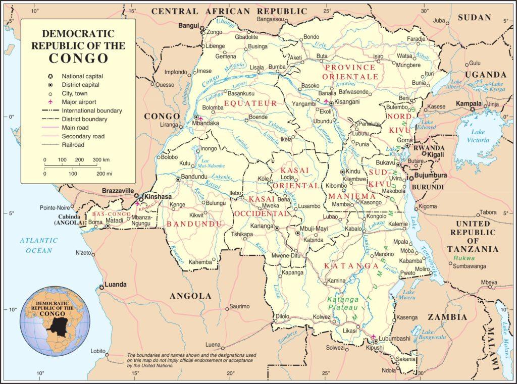 Autre carte de la République Démocratique du Congo