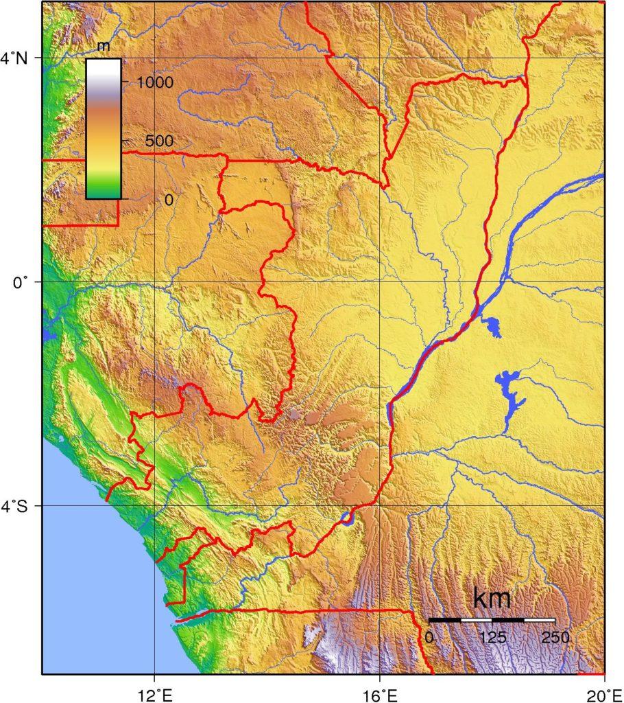 Carte du relief de la République du Congo
