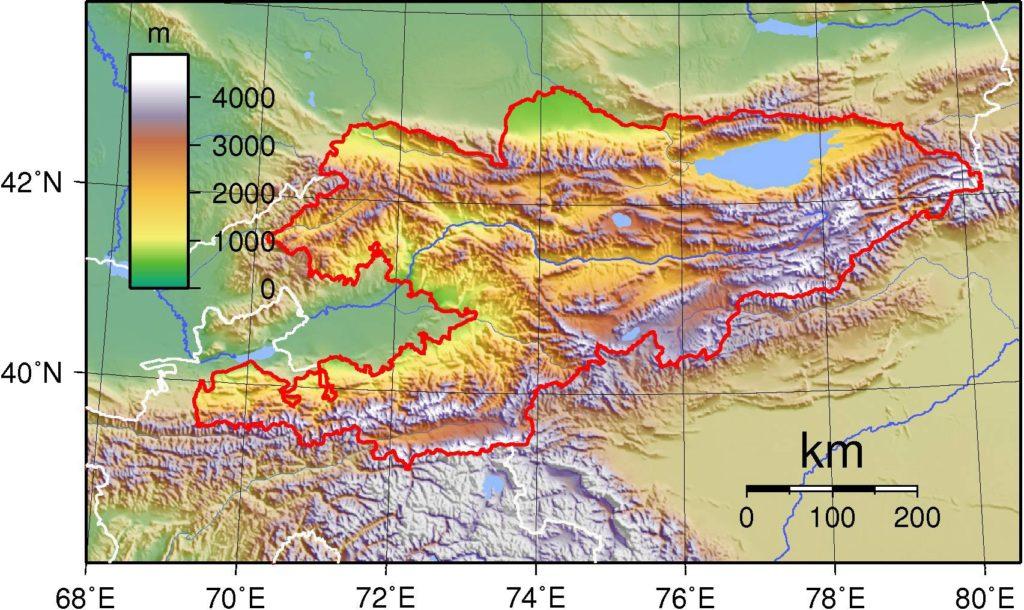Carte du relief du Kirghizistan
