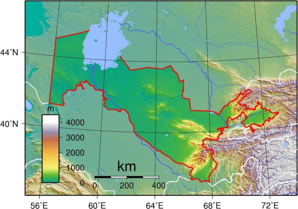 Carte du relief de l'Ouzbékistan