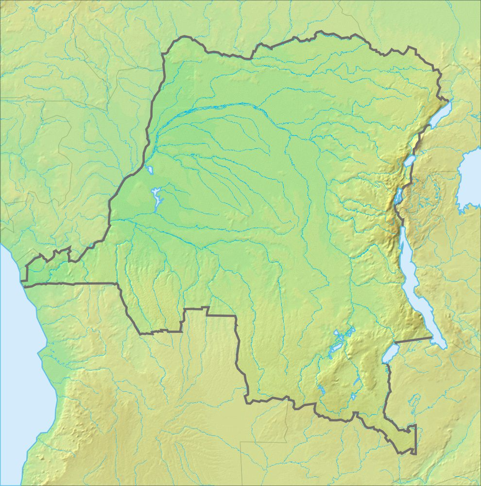 Carte du relief de la République Démocratique du Congo