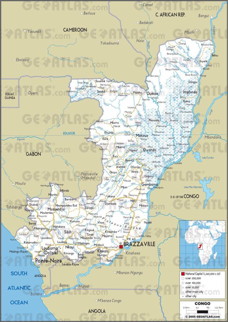 Carte routière de la République du Congo