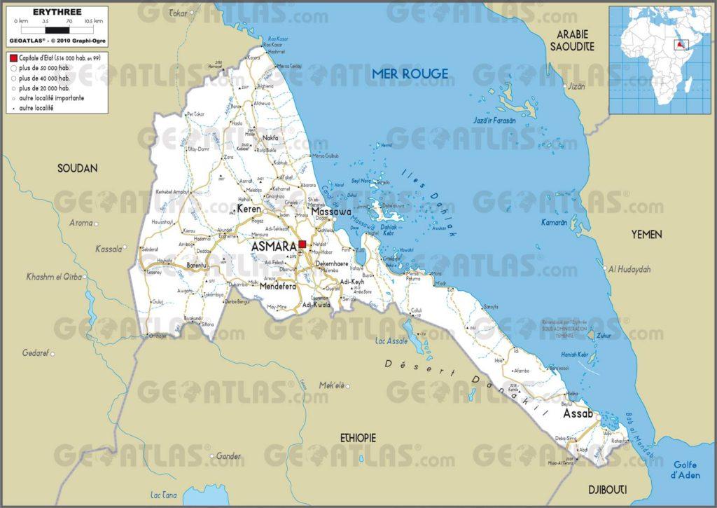 Carte routière de l'Erythrée
