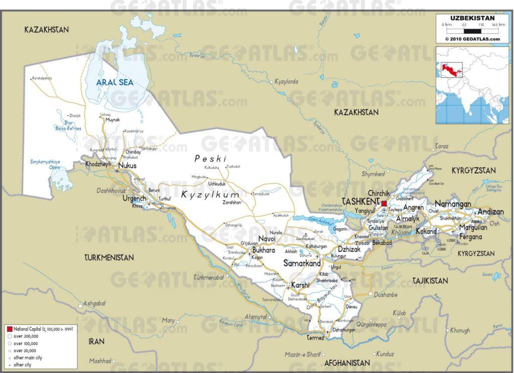 Carte routière de l'Ouzbékistan