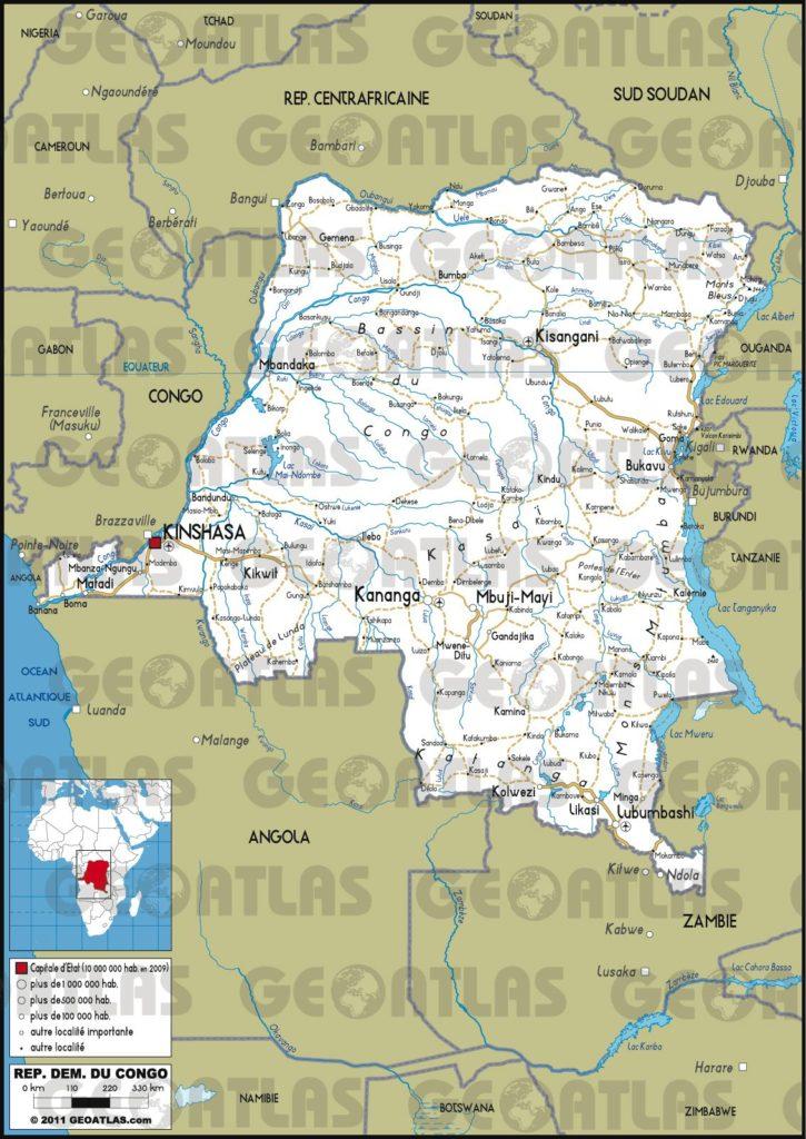 Carte routière de la République Démocratique du Congo