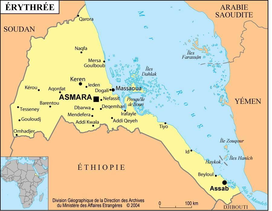 Carte de l'Erythrée