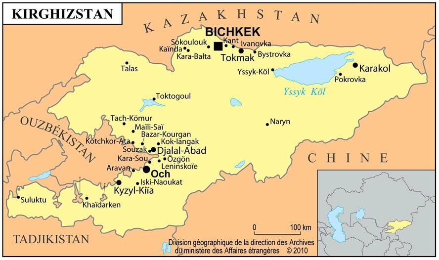 Carte des villes du Kirghizistan