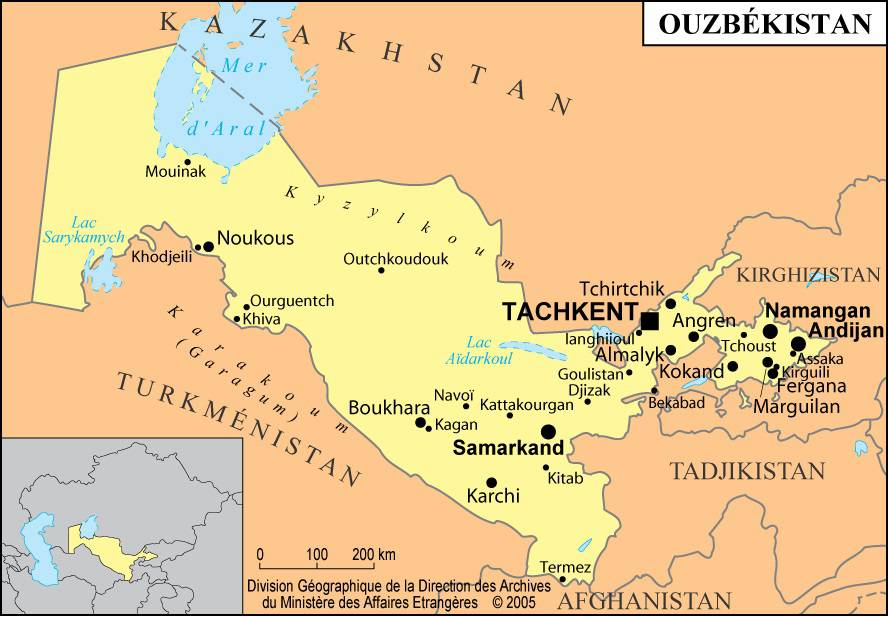Carte des villes de l'Ouzbékistan