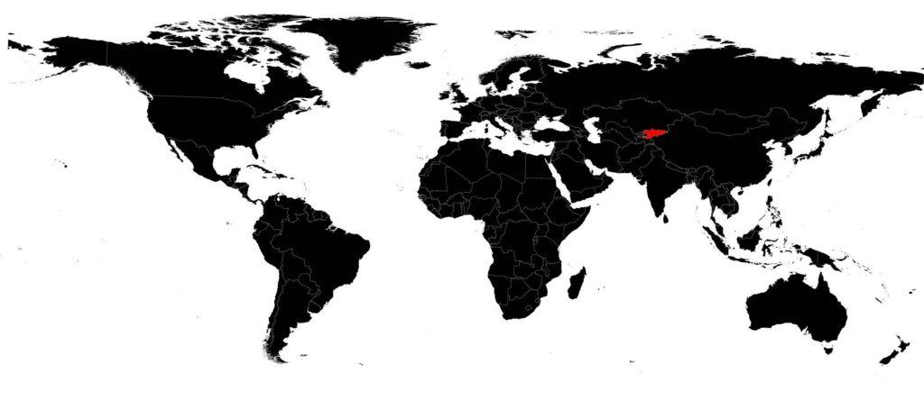 Kirghizistan sur une carte du monde