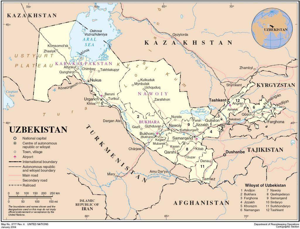 Ouzbékistan carte