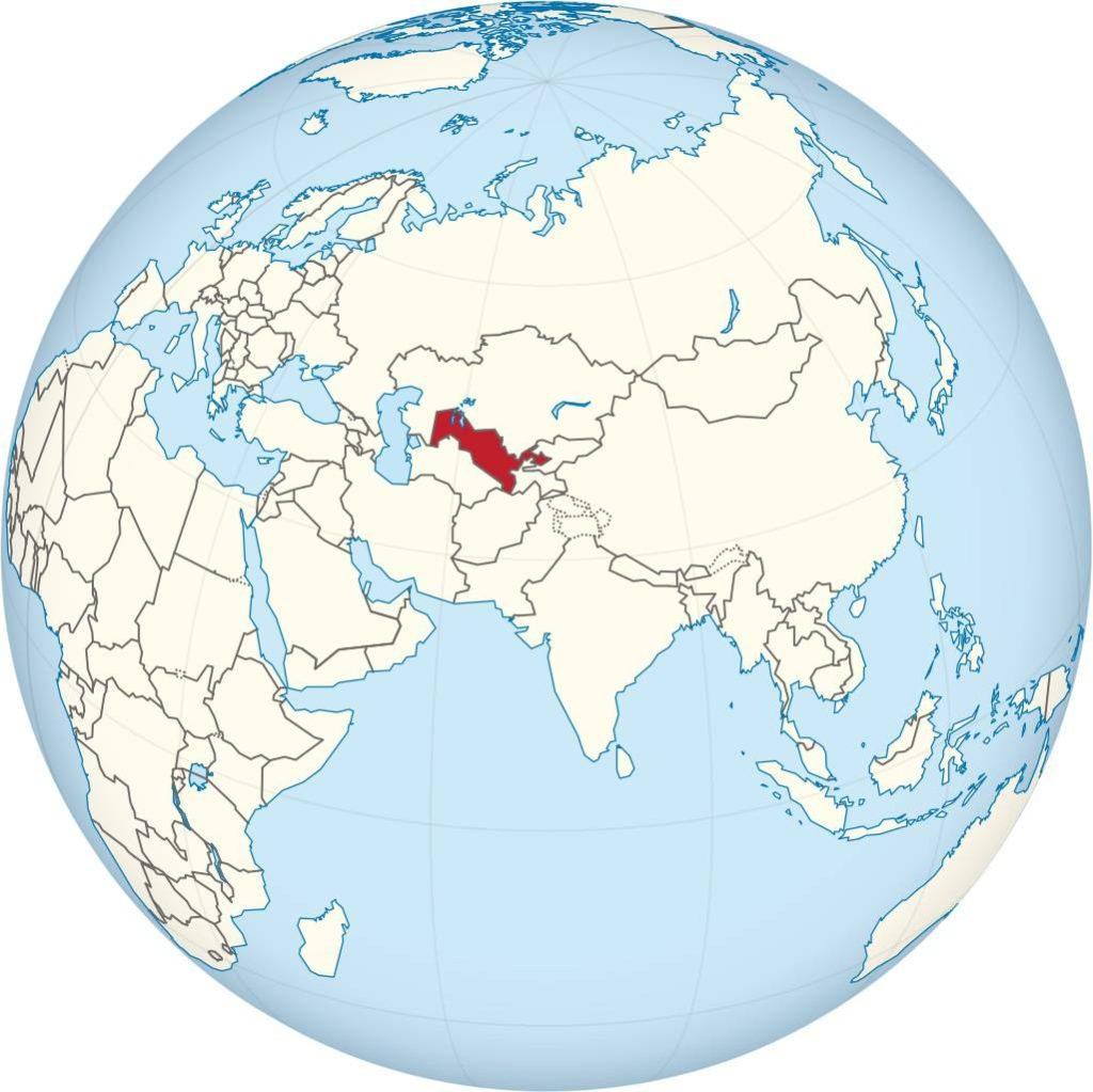 Ouzbékistan sur une carte d'Asie