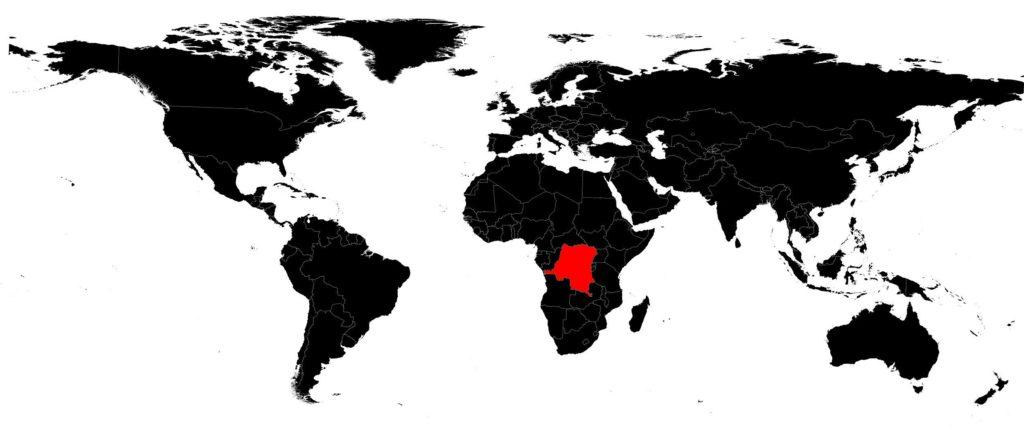 République Démocratique du Congo sur une carte du monde
