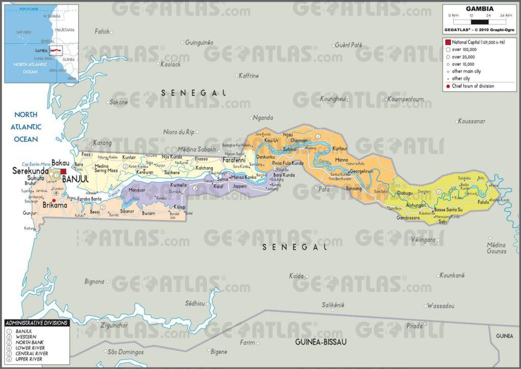 Carte administrative de la Gambie