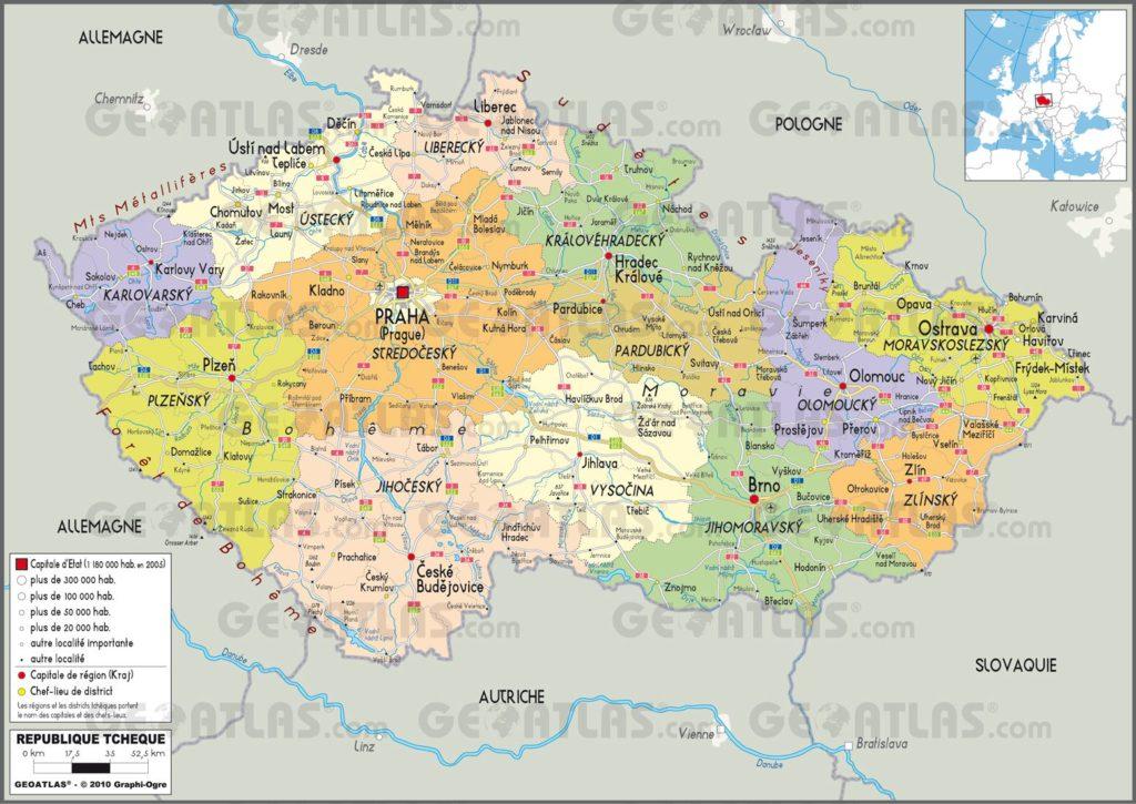 Carte administrative de la République tchèque