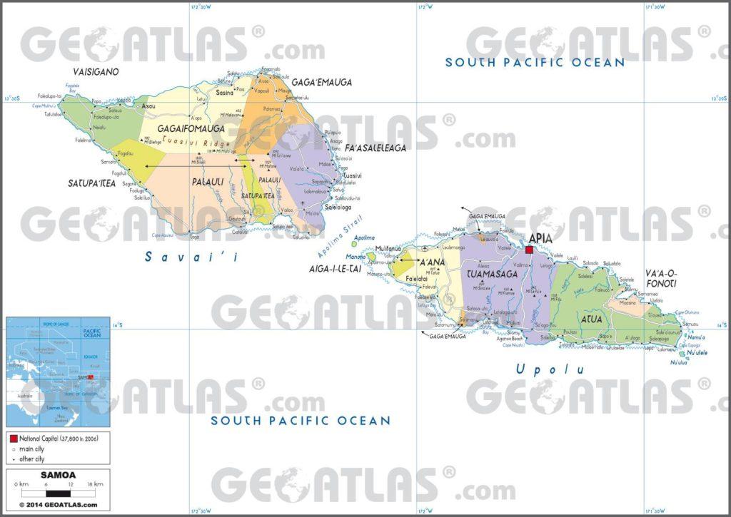 Carte administrative des Samoa