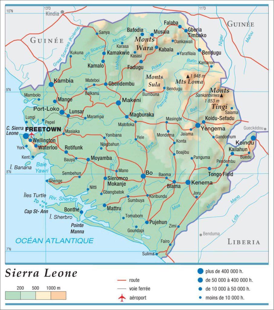 Carte géographique de la Sierra Leone