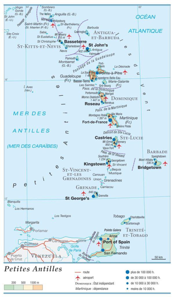Carte géographique de Trinité-et-Tobago