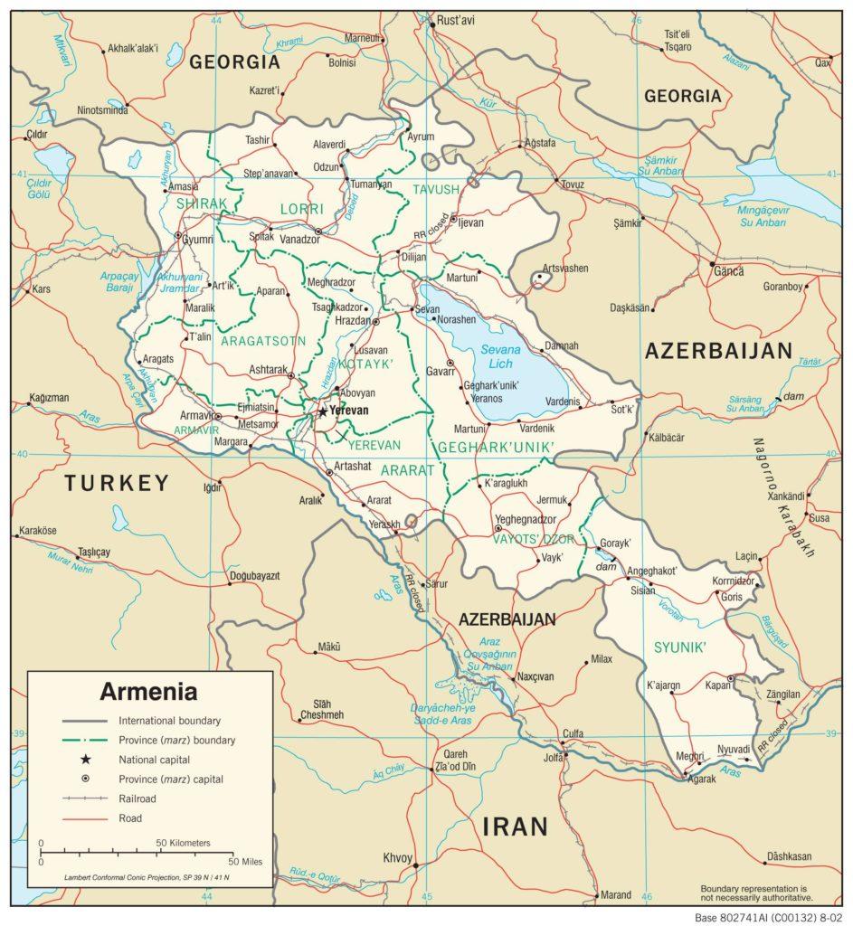 Carte politique de l'Arménie