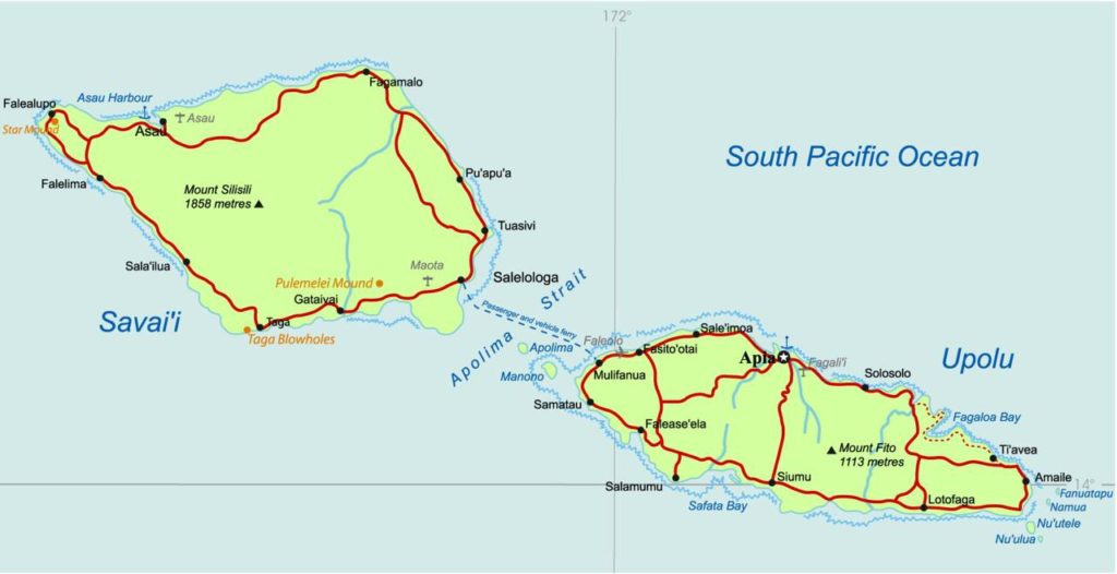 Carte politique des Samoa
