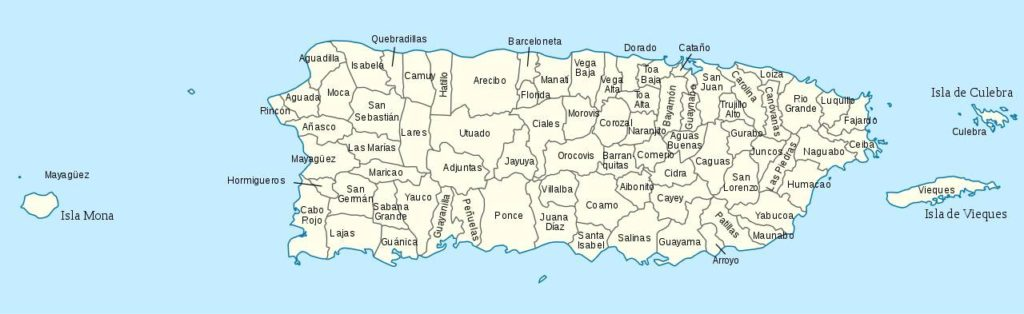 Carte des régions de Porto Rico