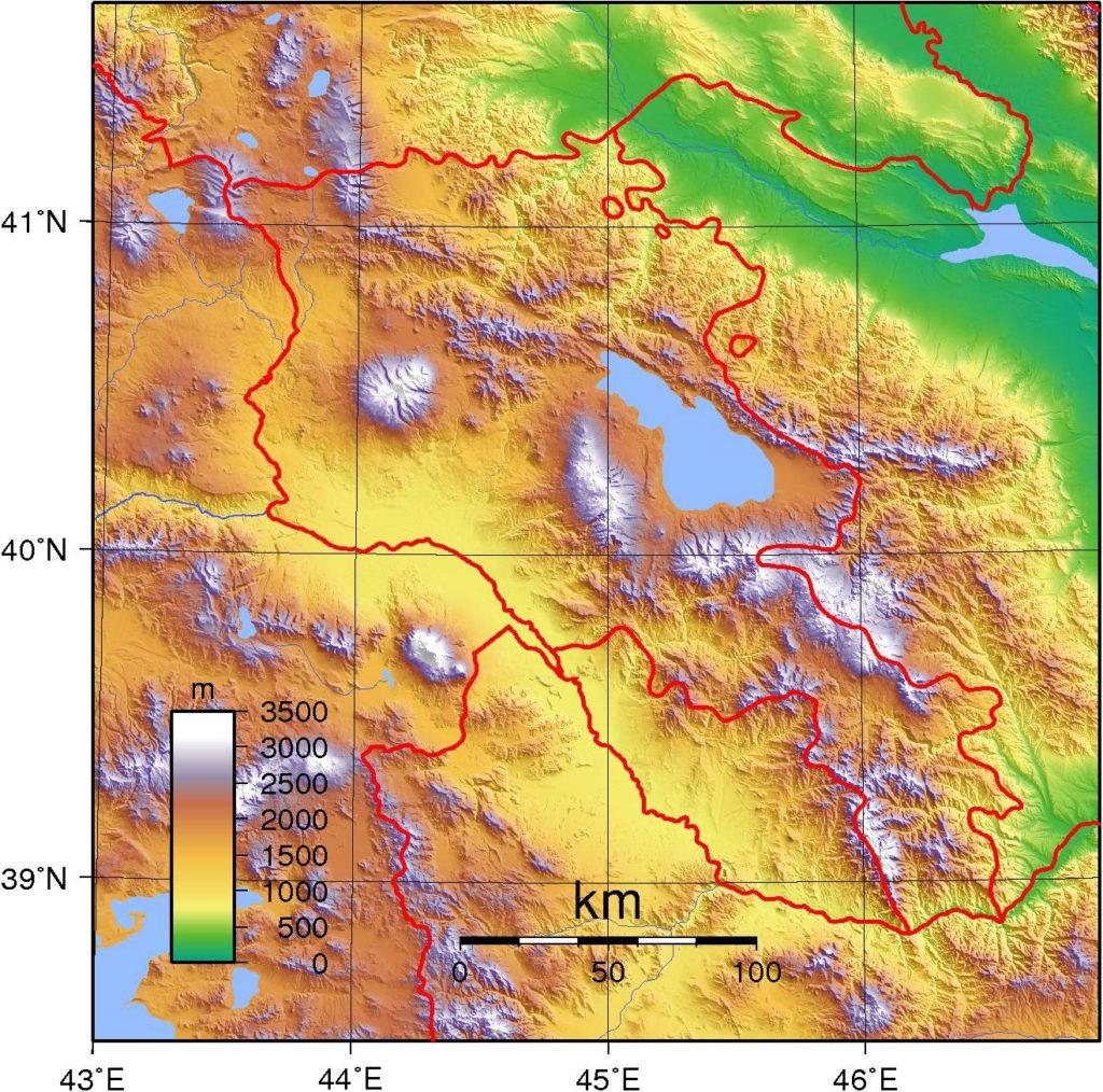 Carte du relief de l'Arménie