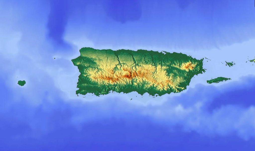 Carte du relief de Porto Rico