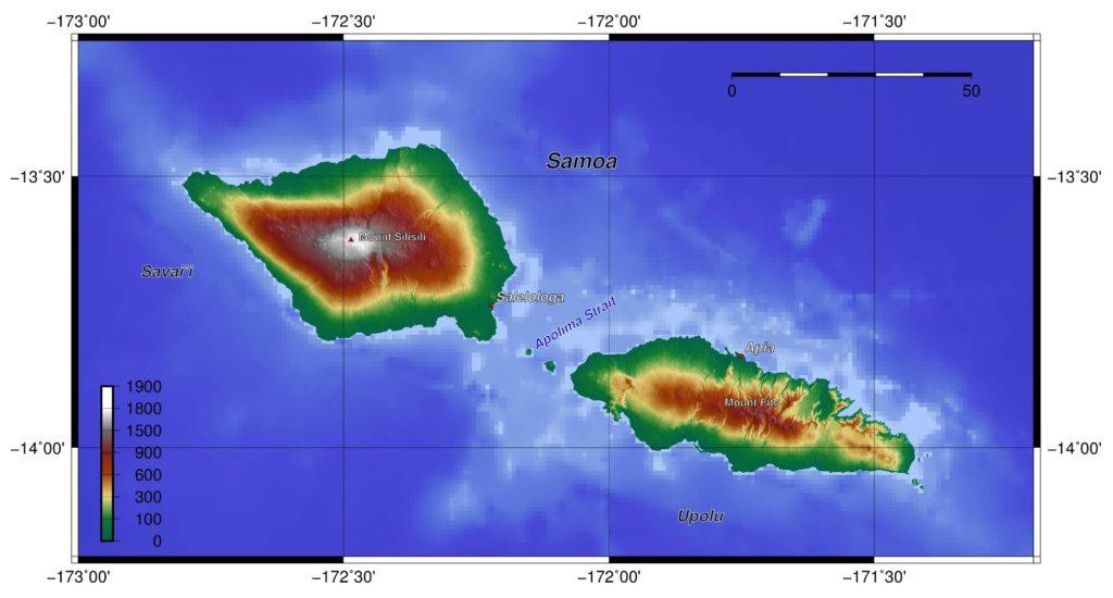 Carte du relief des Samoa