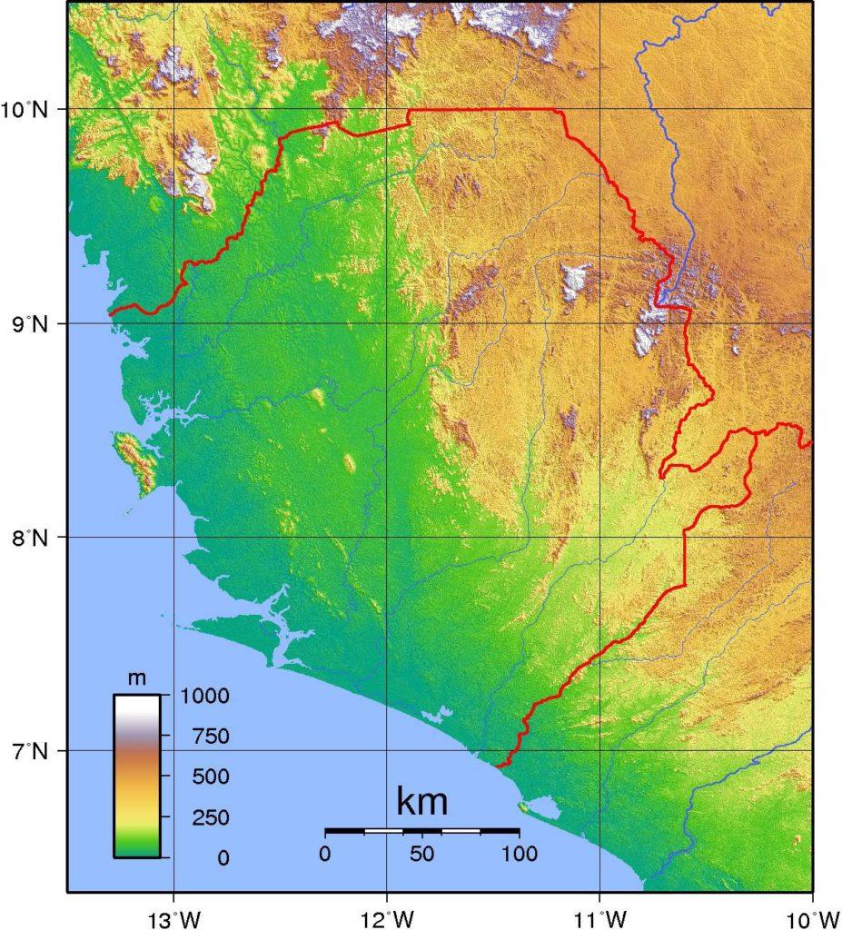 Carte du relief de la Sierra Leone