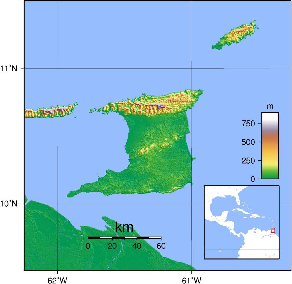 Carte du relief de Trinité-et-Tobago