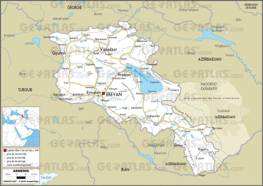 Carte routière de l'Arménie
