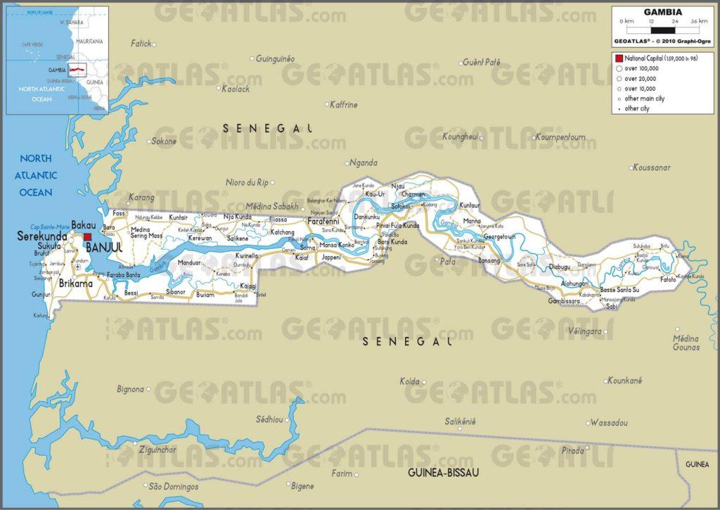Carte routière de la Gambie