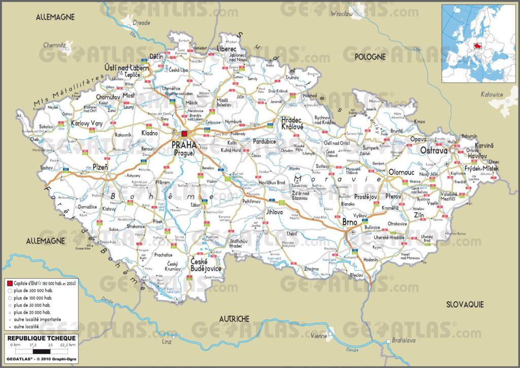 Carte routière de la République tchèque