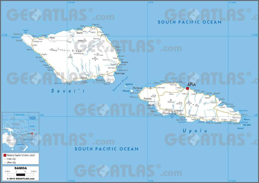 Carte routière des Samoa