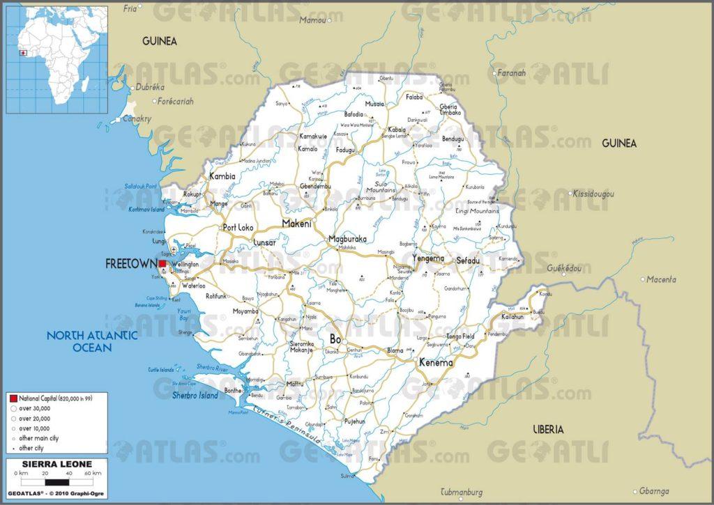 Carte routière de la Sierra Leone