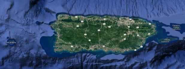 Carte satellite de Porto Rico