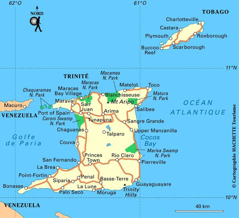 Carte touristique de Trinité-et-Tobago