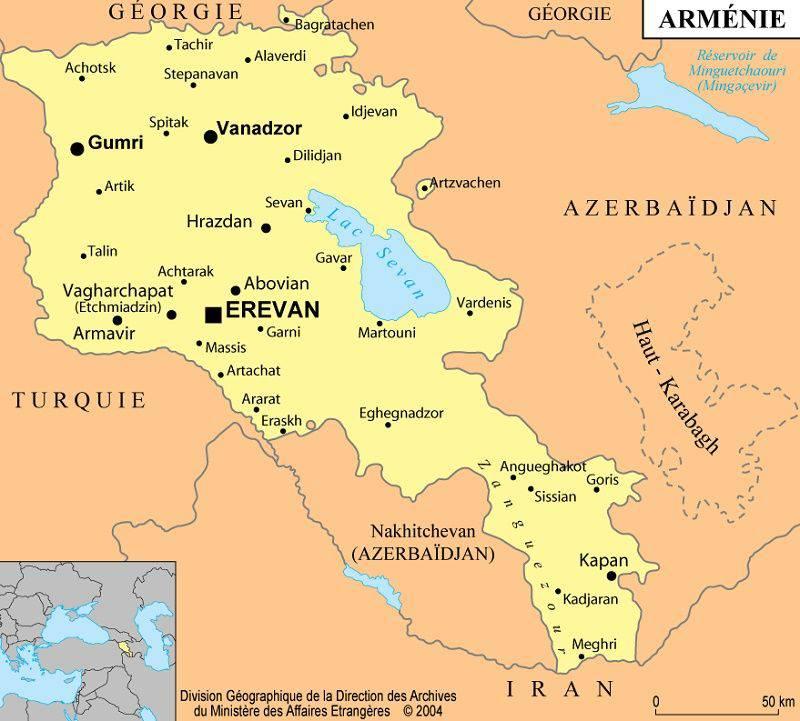 Carte des villes de l'Arménie