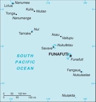 Carte des villes des Tuvalu