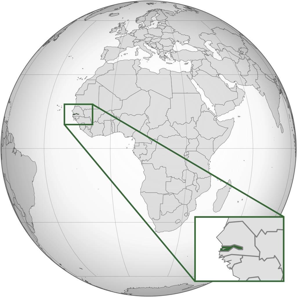Gambie sur une carte de l'Afrique