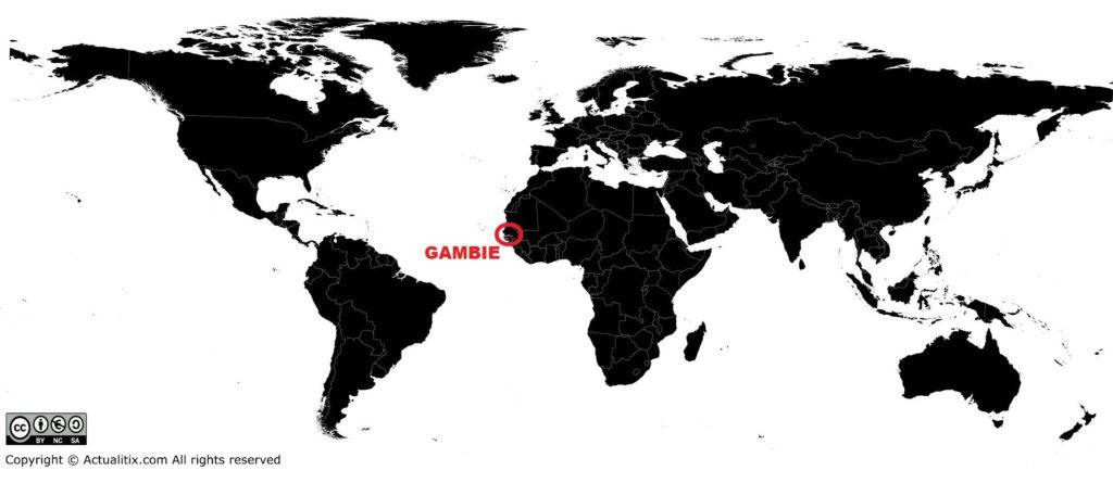 Gambie sur une carte du monde