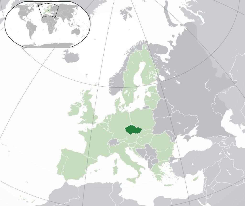 République tchèque sur une carte d'Europe