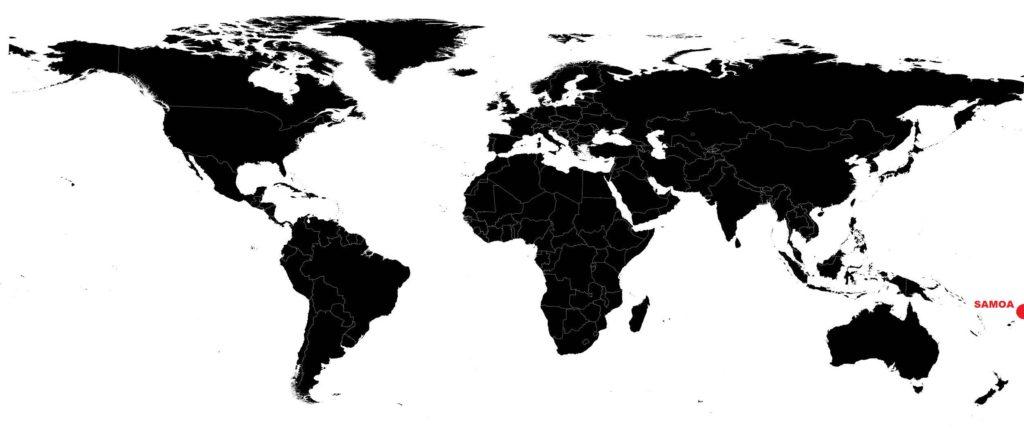 Samoa sur une carte du monde