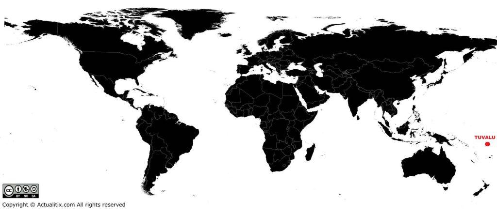 Tuvalu sur une carte du monde