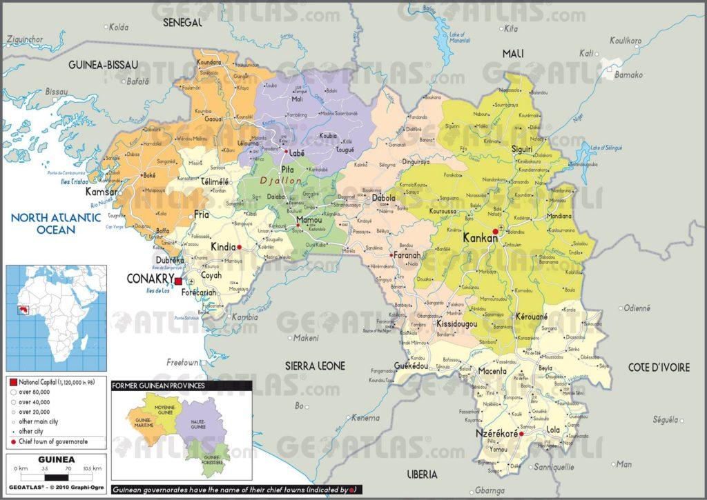 Carte administrative de la Guinée