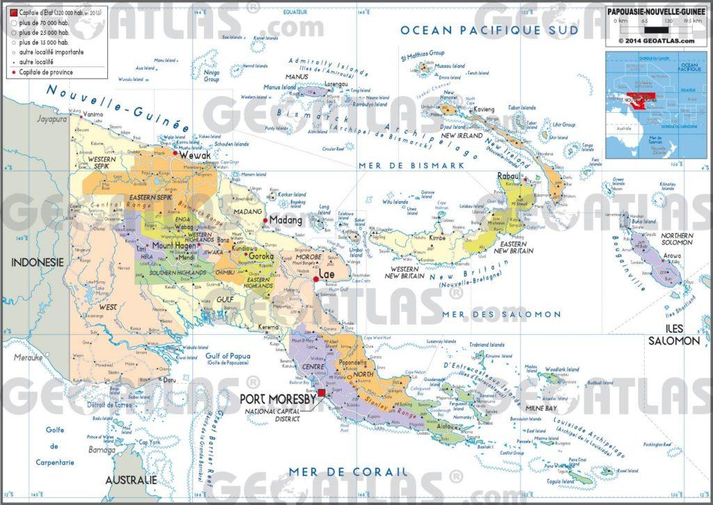 Carte administrative de la Papouasie-Nouvelle-Guinée