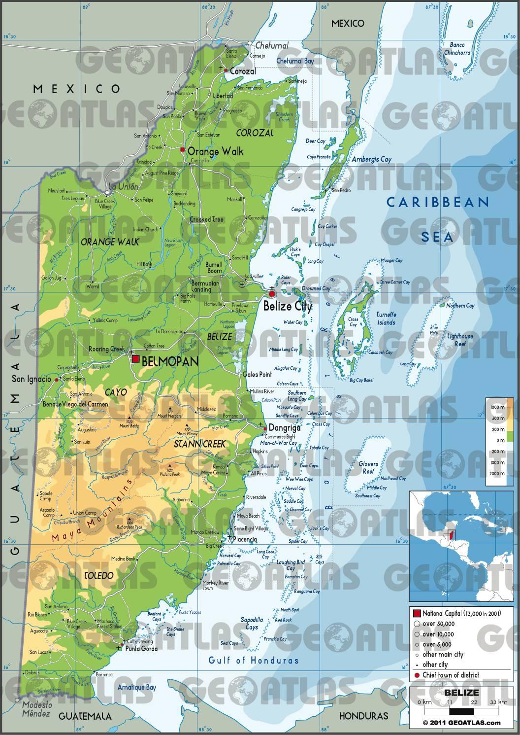 Carte du Belize