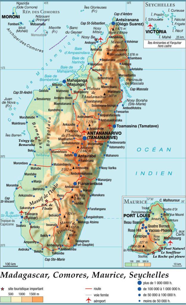 Carte géographique des Comores
