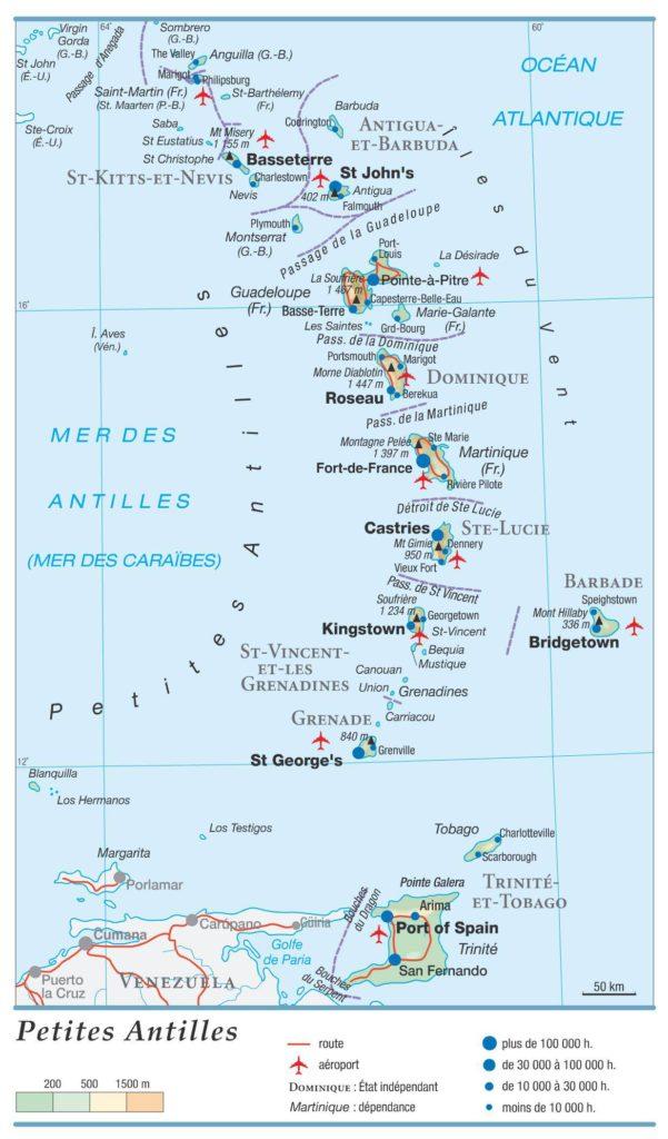Carte géographique de la Dominique
