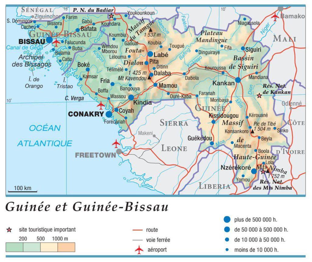 Carte géographique de la Guinée